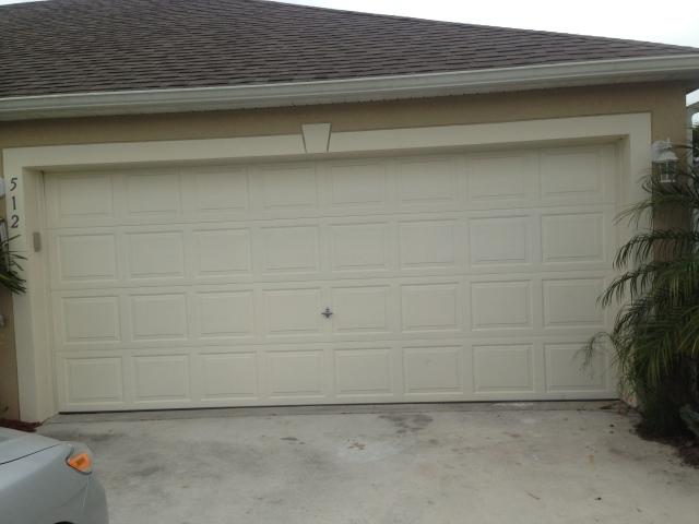 The Keefes' garage door before