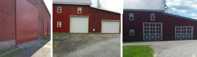 (1) The original wood door of a barn; (2) Installed Amarr Classica steel doors; (3) The finished product - custom-painted Amarr Classica steel doors (Photos (c) Karen Frost)