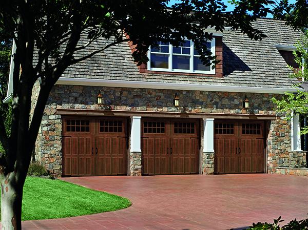 Amarr Classica garage doors in Walnut.
