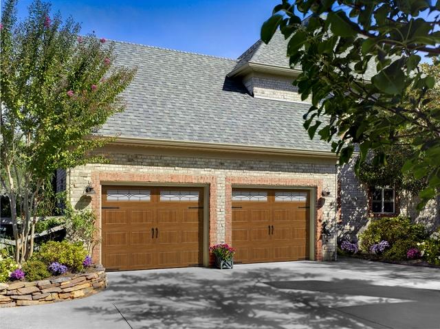 Amarr Oak Summit garage doors in Golden Oak.